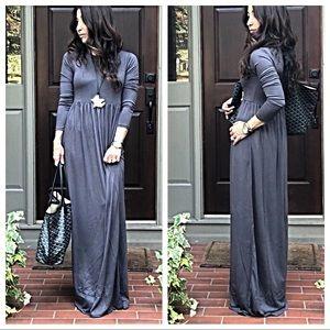 Dresses & Skirts - ✨RESTOCK✨Grey long sleeves side pockets maxi dress
